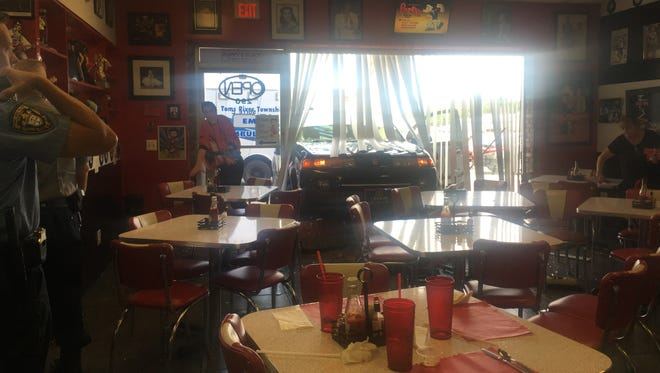 A regular customer accidentally drove through the front window of a Toms River diner, Poppy's Place.