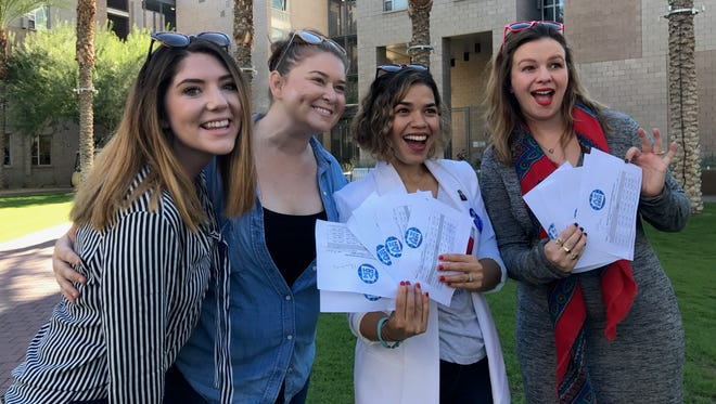 Actresses America Ferrera and Amber Tamblyn rally Arizona State University students for Democratic presidential nominee Hillary Clinton on Nov. 7, 2016.