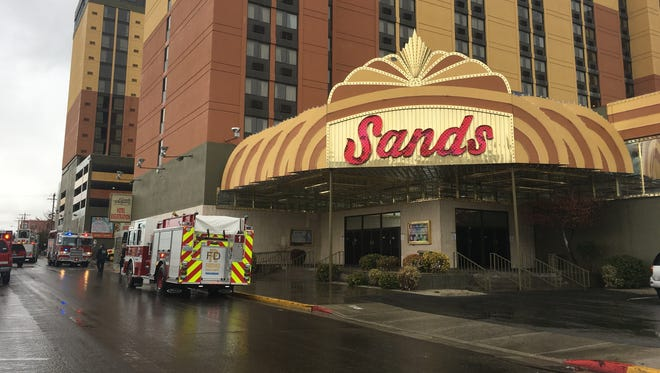 A small fire was contained and extinguished Friday, Feb. 10, 2017 on the fifth floor of the east tower at the Sands Regency Casino Hotel.