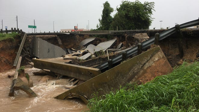FM 762 near Rosenberg, Texas, washed out Aug. 26, 2017, as Hurricane Harvey flooded the state.