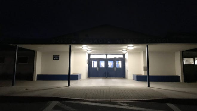 The entrance to Swope Middle School on the night of Tuesday, Feb. 20.