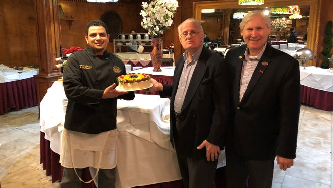 Scotch Plains Mayor Al Smith (right) at Snuffy's Pantagis Renaissance Restaurant during his initiative to promote local businesses.