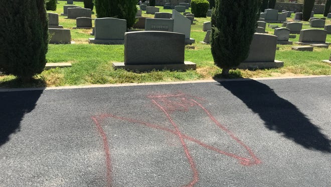 The B'nai Zion section of Concordia Cemetery was vandalized over the weekend. An apparent swastika was spray-painted on the driveway.