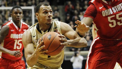 Purdue's Bryson Scott did not play in the second half of Wednesday's game until the final 4.9 seconds. He still made an impact.