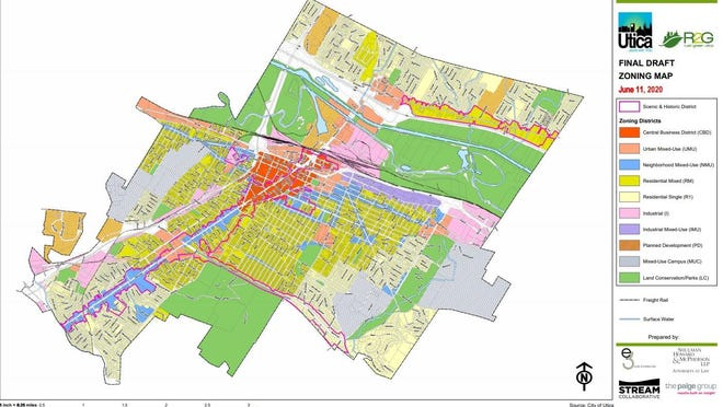 The City of Utica's proposed zoning map would limit the number of zoning districts to 10, down from 18 in the current zoning map.