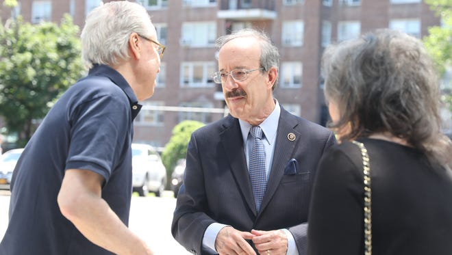 U.S. Rep. Eliot Engel greets well wishers as he arrives to vote in the primary election at P.S. 141 in the Bronx, June 26, 2018.