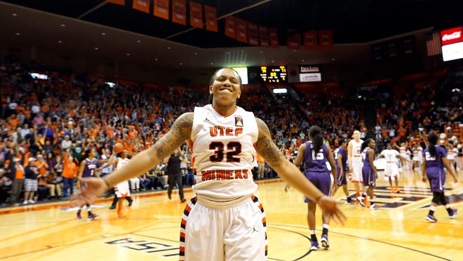 UTEP guard Chrishauna Parker celebrates as the final buzzer sounds and the Miners walk away with a 79-71 win over TCU in the Don Haskins Center in a third round WNIT game. See more photos online at elpasotimes.com.