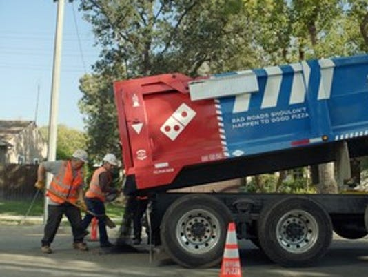 Dominos Pizza Paving for Pizza Truck