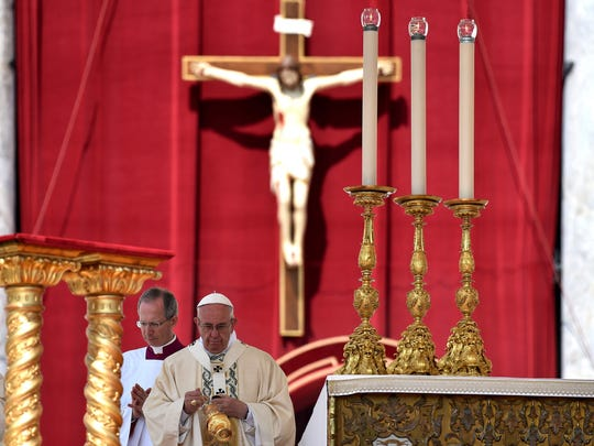 Pope Francis leads a mass on June 5, 2016, at St Peter's