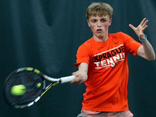 Sprague's Logan Blair competes in the boy's singles
