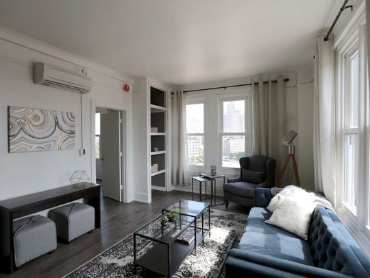 Living space of a 630 Sq.- ft one bedroom apartment  that  will lease for $1,260 at the new Briggs Houze apartments.