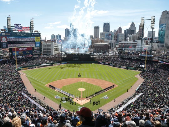 Fireworks go off during the opening ceremonies for Tigers Opening Day on Friday, April 7, 2017 at Comerica Park.