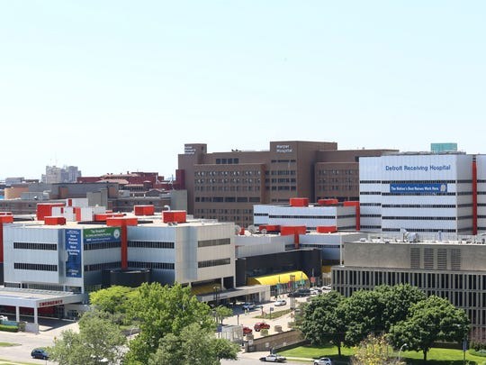 Detroit Receiving Hospital, Hutzel Women's Hospital, Wayne State School of Medicine, and Harper Hospital are part of the Detroit Medical Center or DMC in Detroit's midtown neighborhood. Picture taken May 2014.