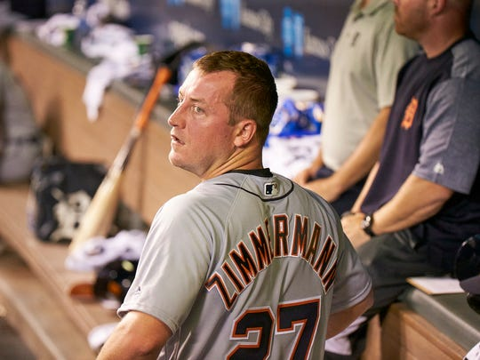 Tigers pitcher Jordan Zimmermann (27) give up only