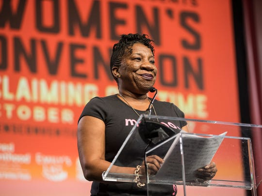 Tarana Burke speaks during The Women's Convention at Cobo Center in downtown Detroit, Friday, Oct. 27, 2017.