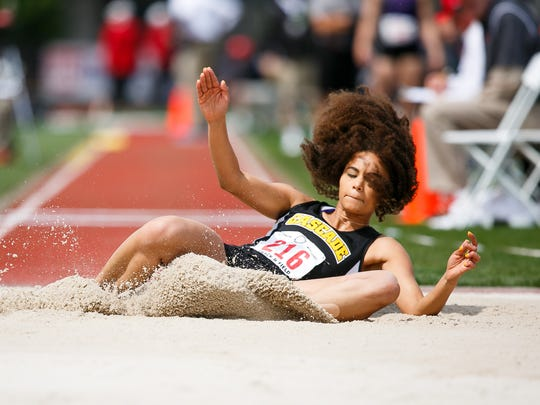 Cascade's Kalulusno Ngaida competes in the 4A girls triple jump at the 2018 OSAA Track and Field State Championships on Saturday, May 19, 2018, at Hayward Field in Eugene. Ngaida took second in the triple jump.
