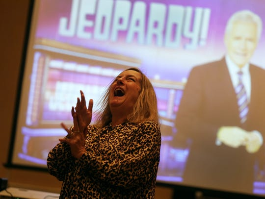"""Jeopardy!"" producer Maggie Speak shares a laugh with"