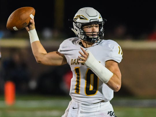 Oak Grove quarterback John Rhys Plumlee (10) throws a pass against Brandon during game action Friday, October 20th, 2017 in Brandon, MS.(Bob Smith-For the Clarion Ledger)