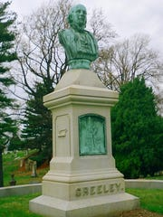 Greeley cemetery monument at Green-Wood Cemetery, Brooklyn, New York.