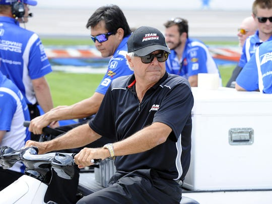 Rick Mears drives down pit road during qualifying for the IndyCar auto race at Texas Motor Speedway on June 5, 2015, in Fort Worth, Texas.