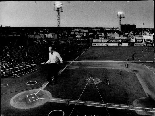 Karl Wallenda walks on a tightrope at Silver Stadium in 1976.