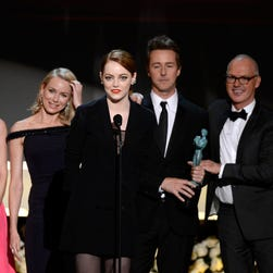 """""""Birdman"""" leads all movies with four nominations at Sunday's SAG Awards, including a best actor nod for Michael Keaton."""