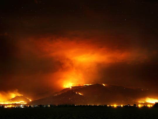 The Frye Fire burns the western edge of the Pinaleño Mountains near Willcox on June 22, 2017.