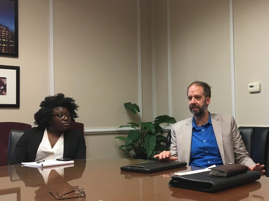 Sarah Omojola, policy counsel with the Southern Poverty Law Center, and John Burkhart, Criminal Justice Reform Fellow at the SPLC, speak at The News-Star editorial board.