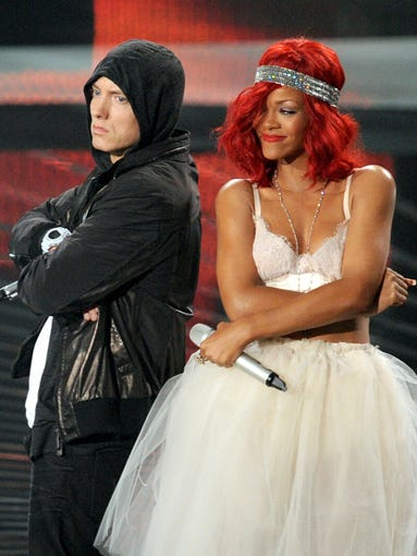 Eminem and Rihanna will be hitting the stage for three stadium shows in August. It's not the first time the two have performed together, or with other artists.