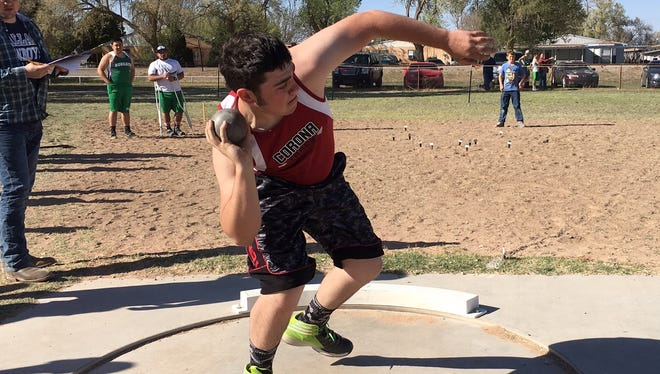 Sophomore Conner Cox throws the shot put at the Alfalfa Capital Relays March 22.