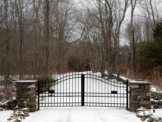 In this Feb. 1, 2018, photo, the gates of Leather Hill
