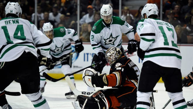 Anaheim Ducks goalie Frederik Andersen (31) attempts to block the puck against the Dallas Stars during the second period in game five of the first round.
