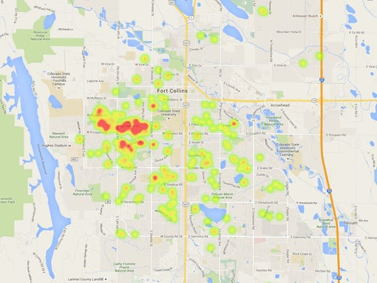 Location of ccupancy violations in Fort Collins during