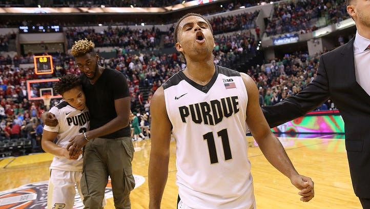 Purdue Boilermakers guard P.J. Thompson (11) celebrates
