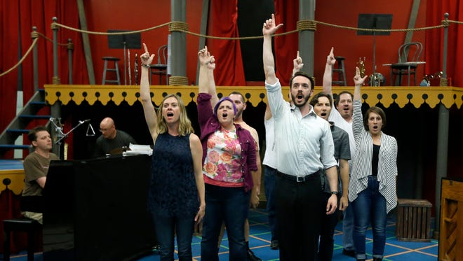 """A rehearsal of """"Assassins,"""" the season-opening play at Blackfriars Theatre."""
