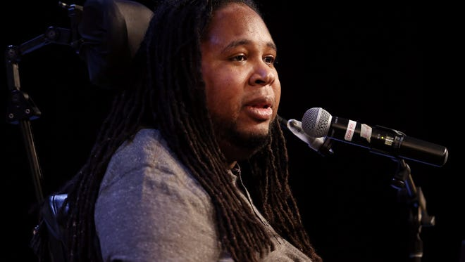 Rutgers grad Eric LeGrand tells stories of perseverance, dedication and character during the Hanover Park High's Night of Excellence. May 16, 2017, East Hanover, NJ.