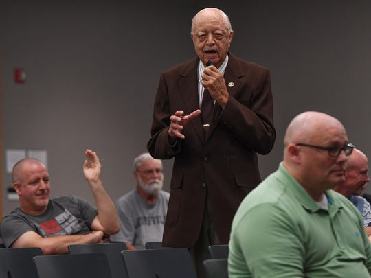 "Grady Butler speaks in favor of changing the name of Wade Hampton High School during the Greenville News community forum ""What's in a Name"" at the Greenville County Library on Thursday, September 7, 2017."