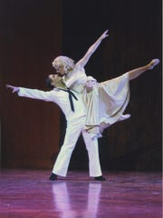 """Jennifer was in her senior year at the University of Cincinnati's College-Conservatory of Music when she starred as Ivy in the school's production of """"On the Town."""" She is seen here in the 2003 production, dancing with Eric Daniel Santagata, who played the role of Gabey."""