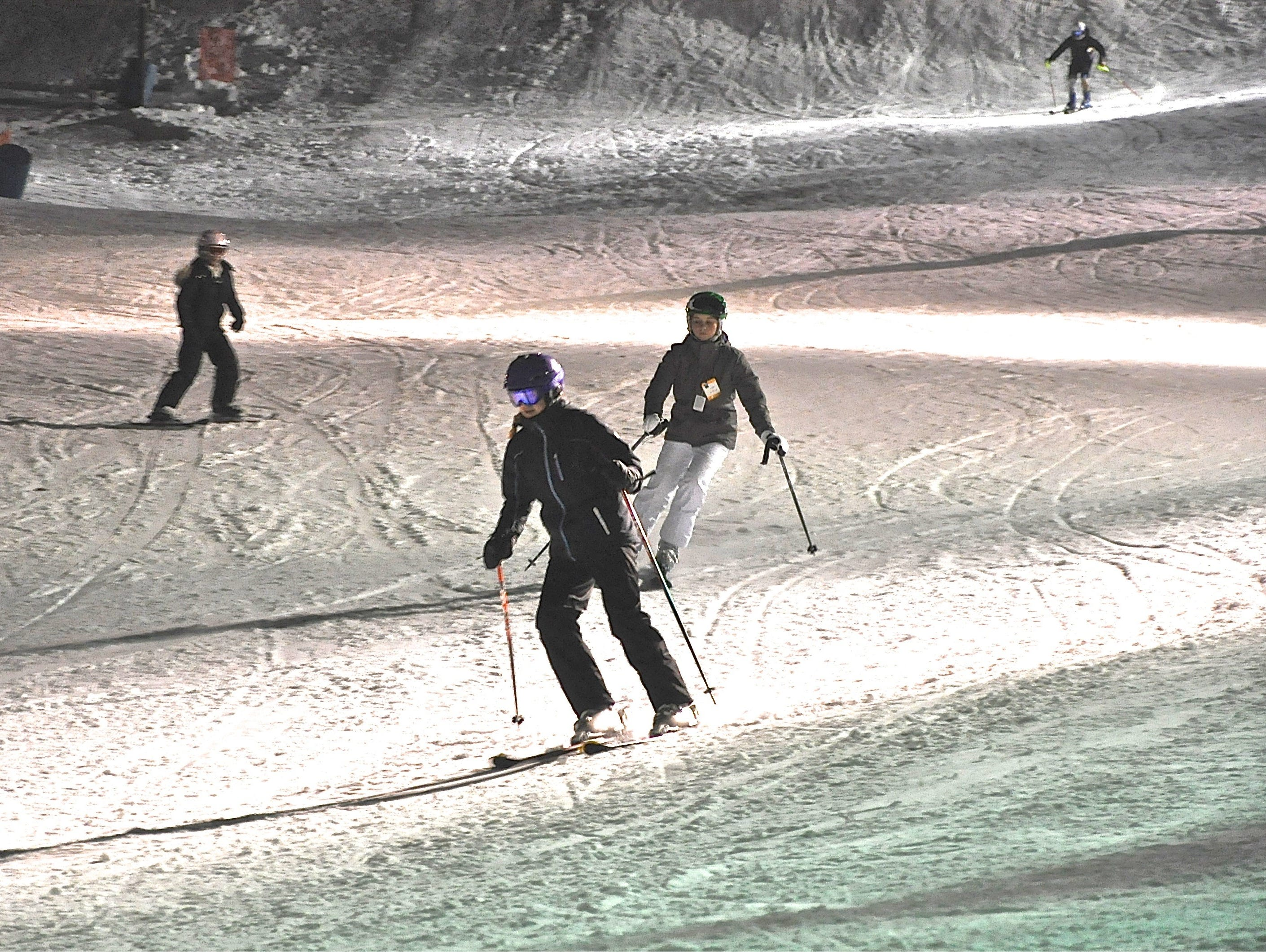 Skiers hit the slopes Thursday night at Thunder Ridge, which like Campgaw, had postponed opening due to mild weather.