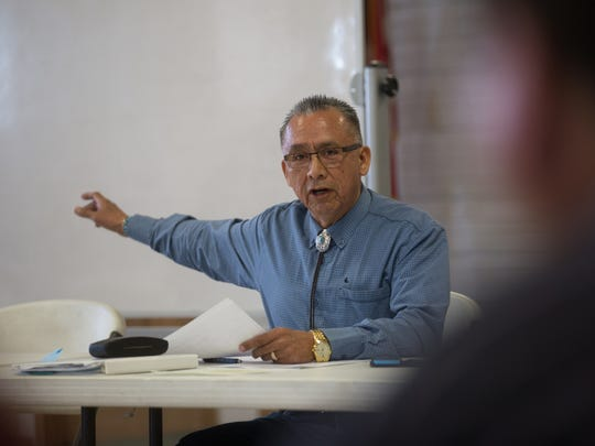 District 13 President Rick Nez speaks about the possible closure of three solid waste transfer stations on the Navajo Nation during a meeting Thursday at the Nenahnezad Chapter house.