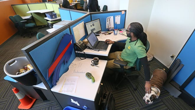 Jamaal Cain, community organizer, gives his dog Captain a pat on the head as he works at his desk at SunCommon.