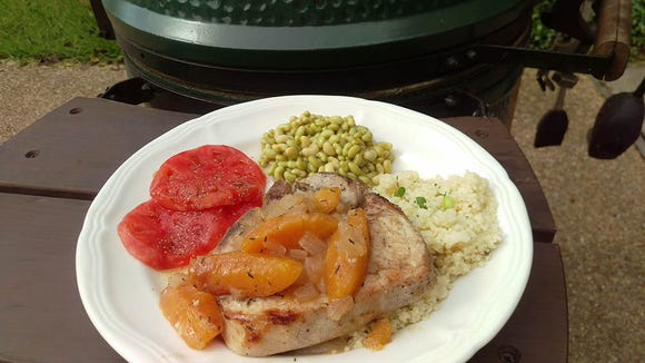 Peaches and pork chops on the grill
