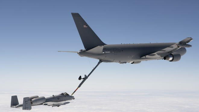 A KC-46 Pegasus refuels an A-10 Thunderbolt II with 1,500 pounds of fuel July 15, 2016. The mission was the last of all flight tests required for the tanker's Milestone C production decision.