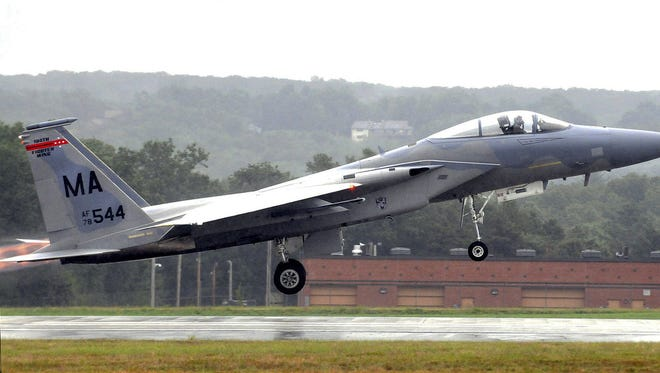 In this Aug. 22, 2010, file photo, an F-15 from the 104th Fighter Wing at the Barnes Air National Guard Base takes off during the Westfield International Air Show in Westfield, Mass. A 14-year-old Air National Guard proposal could be considered in 2017 that would allow the twin-engine fighters from Massachusetts to fly as low as 500 feet along a corridor in western Maine and the northern tip of New Hampshire.