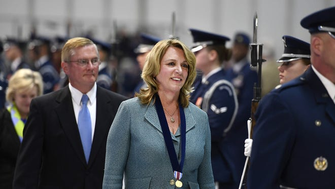 Secretary of the Air Force Deborah Lee James and her husband, Frank Beatty, depart her farewell ceremony at Joint Base Andrews, Md., Jan. 11, 2017. James took office as the 23rd secretary of the Air Force in December 2013.