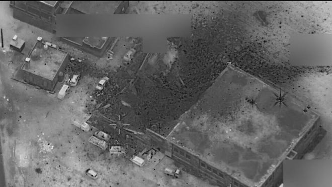 A DoD photo purports to show the aftermath of a bombing of an al-Qaida meeting in the Jeeneh district in Aleppo province, Syria, March 16, 2017.