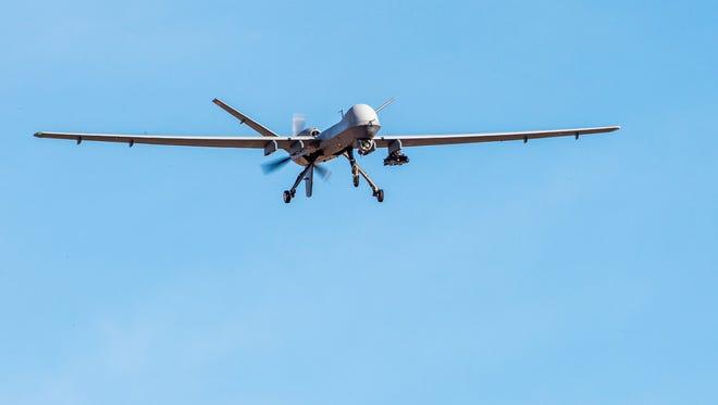 An MQ-9 Reaper remotely piloted aircraft prepares to land at Holloman Air Force Base, N.M., Dec. 20, 2016.