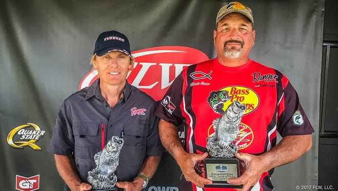 Mike Feldermann, left, and Curtis Samo tied for the win at the T-H Marine FLW Bass Fishing League (BFL) Great Lakes Division tournament on the Wolf River Chain.