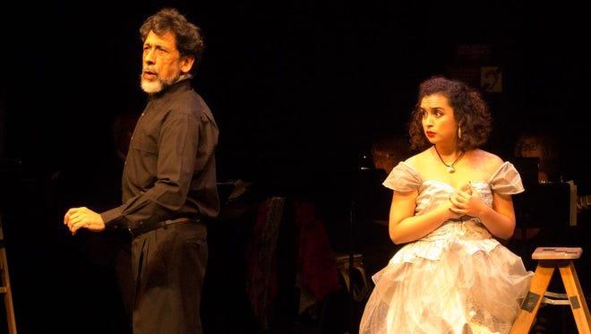 "Ludwig Pineda and Rafaela Garcia star in ""Amor de Don Perlimplin con Belisa en Su Jardin"" (The Love of Don Perlimplin and Belisa in Her Garden) on stage through Sunday at Oxnard College's Black Box Theater."
