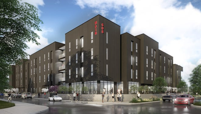 An artist's rendering of plans for the 608 Main apartments development in Clarksville.